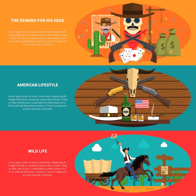 Cowboy-banner-set Kostenlosen Vektoren