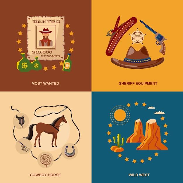 Cowboy-elemente zusammensetzung flach Kostenlosen Vektoren