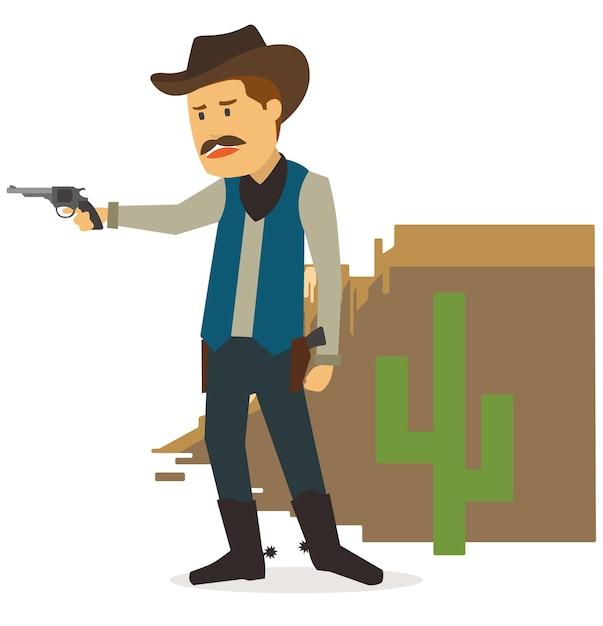 Cowboy in der wüste suchen den feind Premium Vektoren