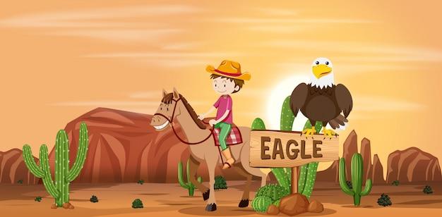 Cowboy in der wüstenszene Premium Vektoren