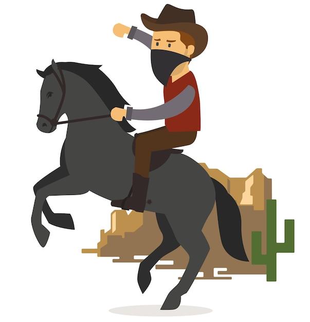 Cowboy mit pferd in der wüste Premium Vektoren