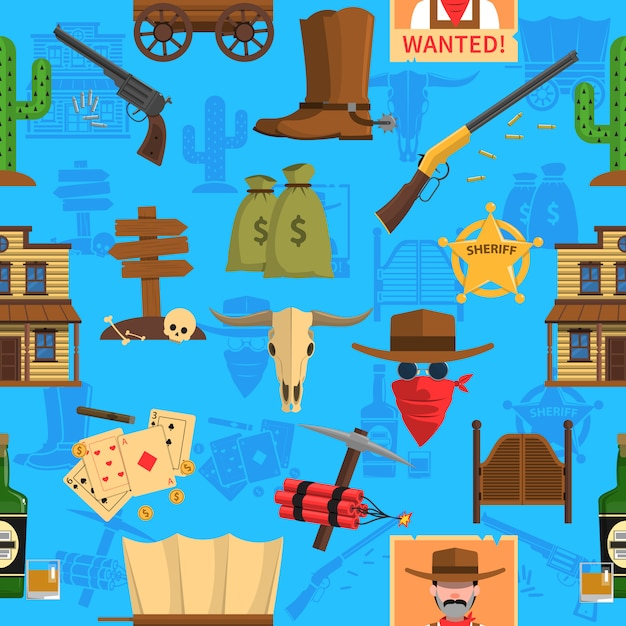Cowboy-nahtloses muster Kostenlosen Vektoren