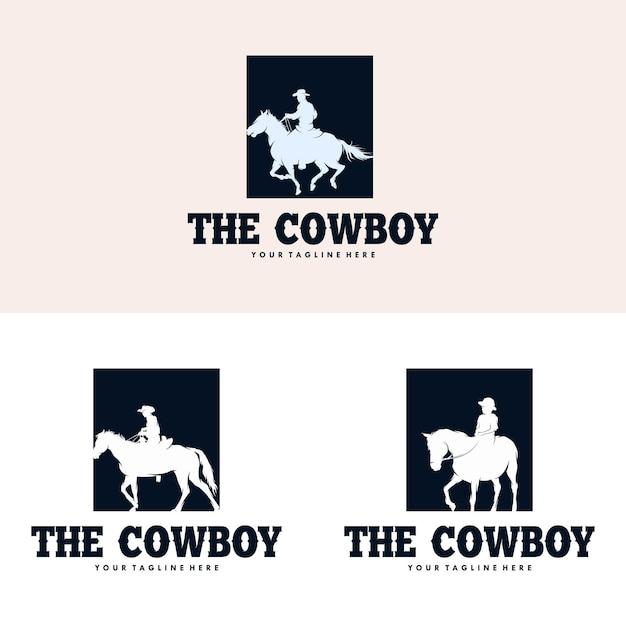 Cowboy reitpferd silhouette logo design Premium Vektoren