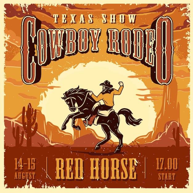Cowboy rodeo show werbevorlage Kostenlosen Vektoren