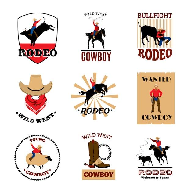 Cowboy-rodeospiele aus mustangreiten und stierkampf Kostenlosen Vektoren