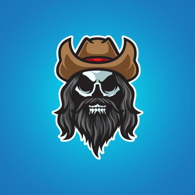Cowboy schädelkopf maskottchen logo Premium Vektoren