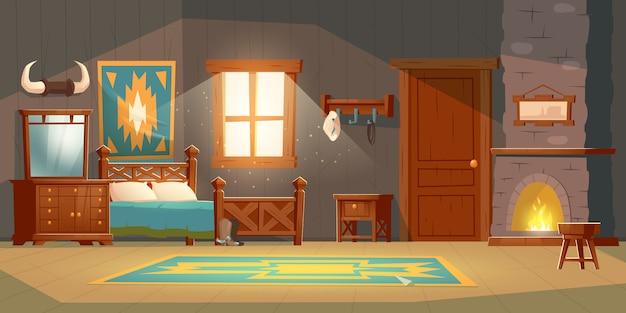 Cowboy schlafzimmer interieur im rustikalen haus Kostenlosen Vektoren
