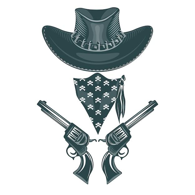 Cowboy-set. hut, revolver und maske. Premium Vektoren