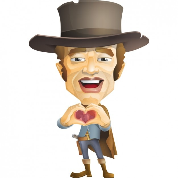Cowboy tut ein herz mit seinen händen Kostenlosen Vektoren