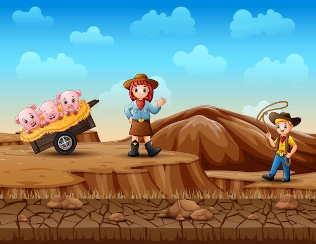 Cowboy und cowgirl hüten schweine in der wüste Premium Vektoren