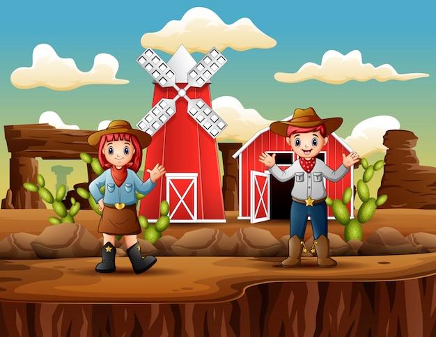 Cowboy und cowgirl in der vorderen bauernhofwestlandschaft Premium Vektoren