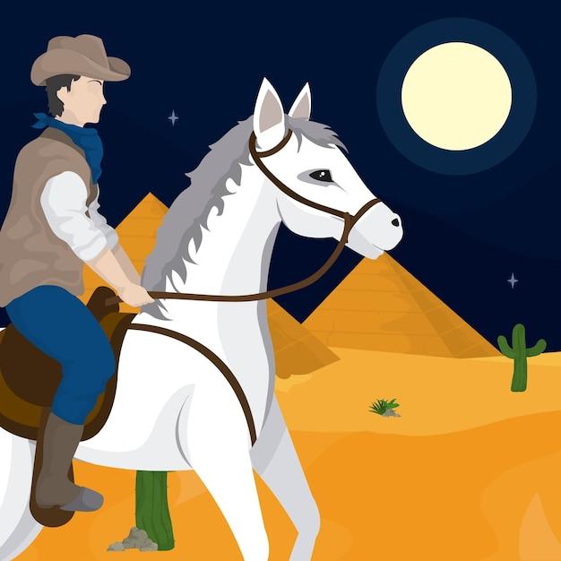 Cowboy und pferd Premium Vektoren
