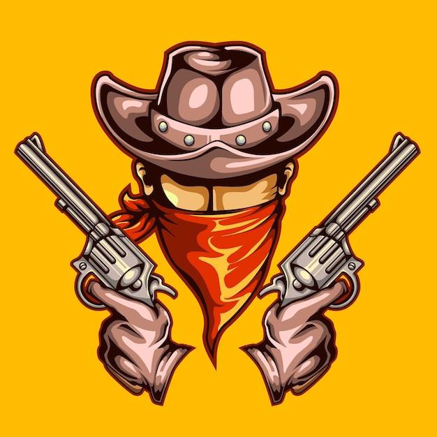 Cowboy und waffen wollten wilden westen Premium Vektoren