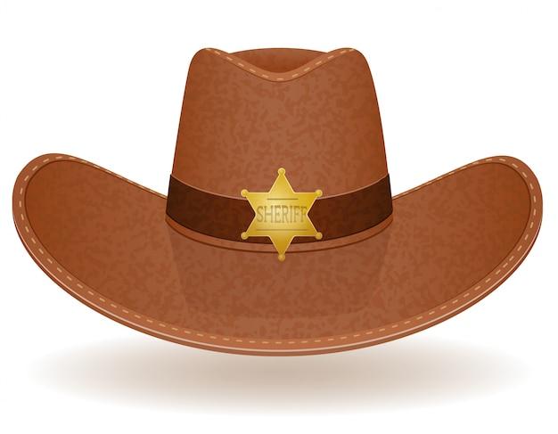 Cowboyhut-sheriff-vektor-illustration Premium Vektoren