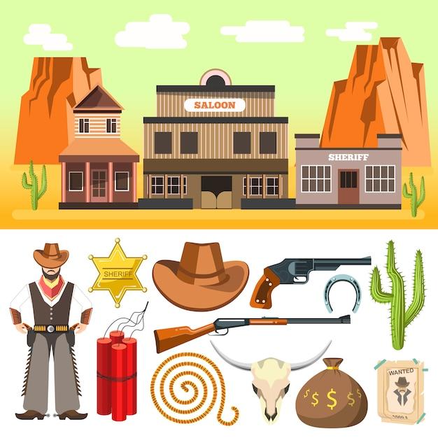 Cowboyikonen eingestellt und wilde westszene mit dynamitschädel und ho Premium Vektoren