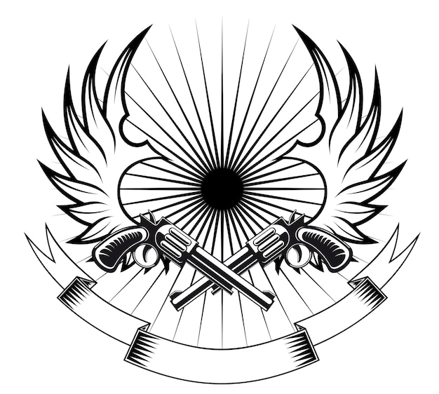 Cowboyrevolver mit flügeln und band für heraldisches oder tätowierungsdesign Premium Vektoren