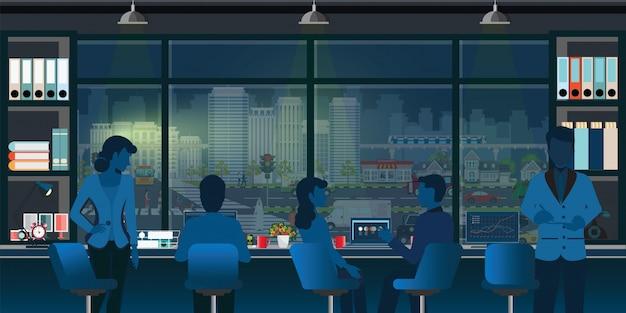 Coworking büroinnenraum modern mit geschäftsleuten. Premium Vektoren