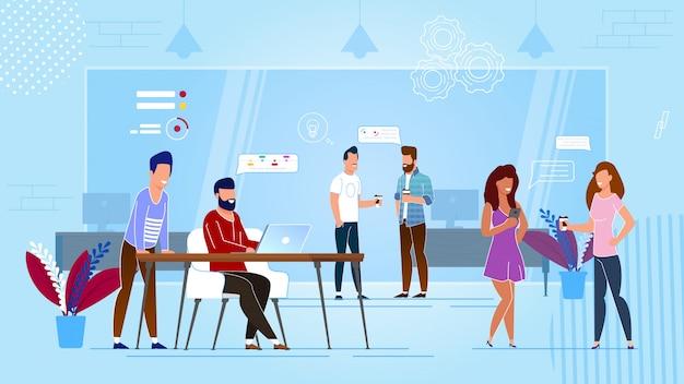 Coworking-center-cartoon. Premium Vektoren