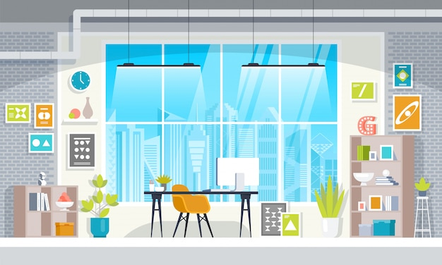 Coworking flaches design des modernen bürodesignerarbeitsplatzes. Premium Vektoren