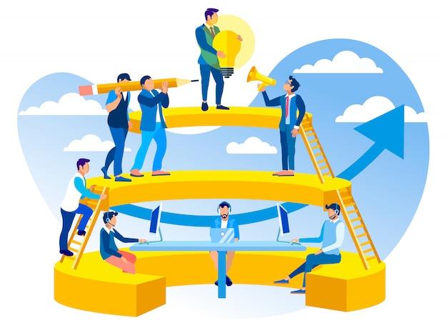 Coworking in der kundenkontaktcenter-vektor-illustration. Premium Vektoren