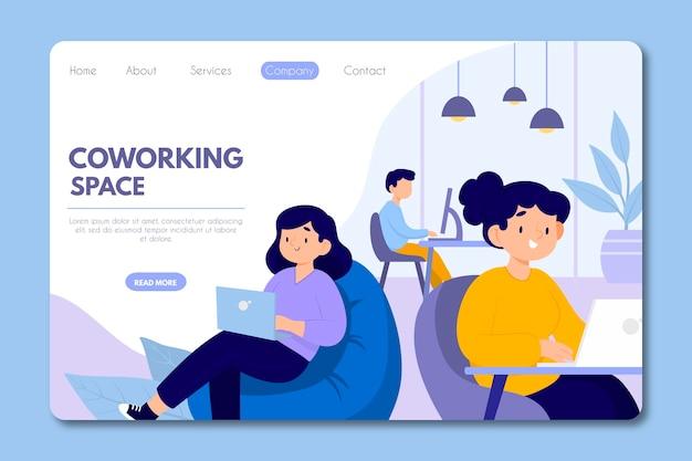 Coworking landing page Kostenlosen Vektoren