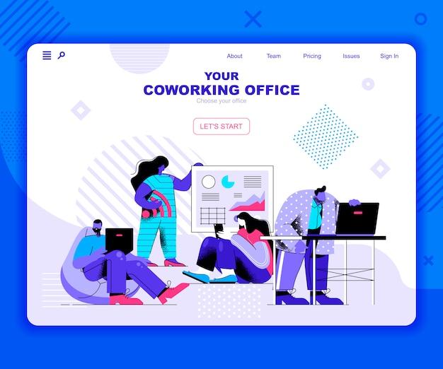 Coworking office landing page vorlage Premium Vektoren