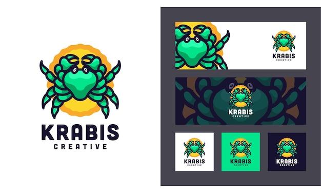 Crab creative modern animal set logo-vorlage Premium Vektoren
