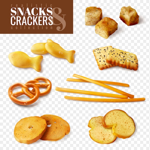Cracker und snacks von verschiedenen formen auf transparenten hintergrund lokalisierten ikonen stellten realistische illustration ein Kostenlosen Vektoren