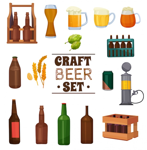 Craft beer illustration set Kostenlosen Vektoren
