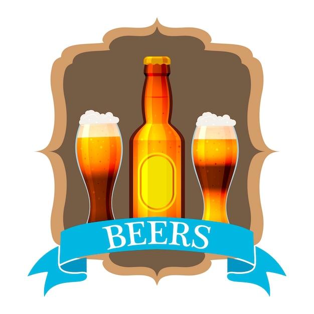Craft beer label und hals etikett auf braune flasche. Premium Vektoren