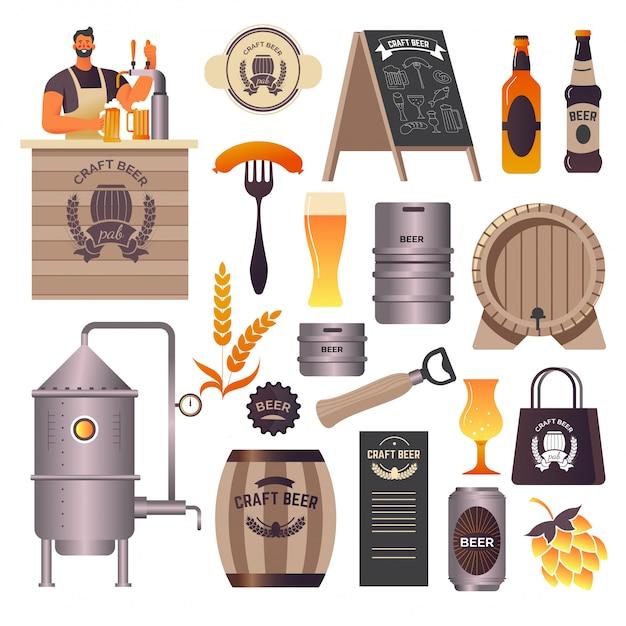 Craft beer pub, brauerei und bar, barkeeper gießt getränk ein Premium Vektoren
