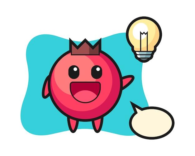 Cranberry charakter cartoon bekommen die idee, niedlichen stil, aufkleber, logo-element Premium Vektoren
