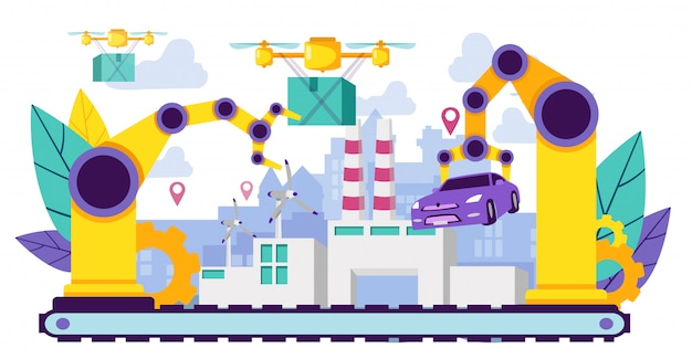 Crane transports car-hintergrund-fabrik. Premium Vektoren