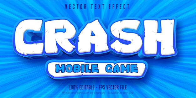 Crash mobile game text, bearbeitbarer texteffekt im spielstil Premium Vektoren