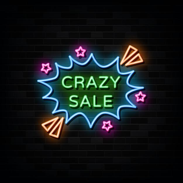 Crazy sale leuchtreklamen design vorlage neon style Premium Vektoren
