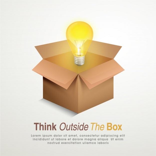 Creative hintergrund der glühbirne und karton Premium Vektoren