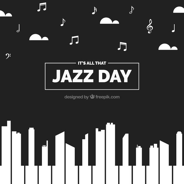 Creative hintergrund des jazz tag mit klavier Kostenlosen Vektoren