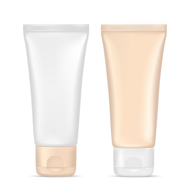 Creme tube. kosmetikbehälter aus beigem kunststoff. verpackungsdesign, leere modellvorlage. abbildung 3d getrennt auf weißem hintergrund Premium Vektoren