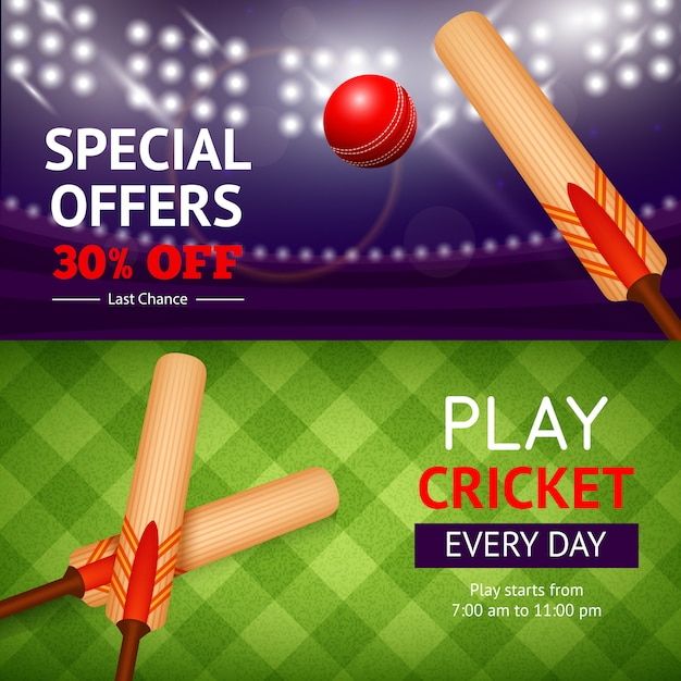 Cricket-banner-set Kostenlosen Vektoren