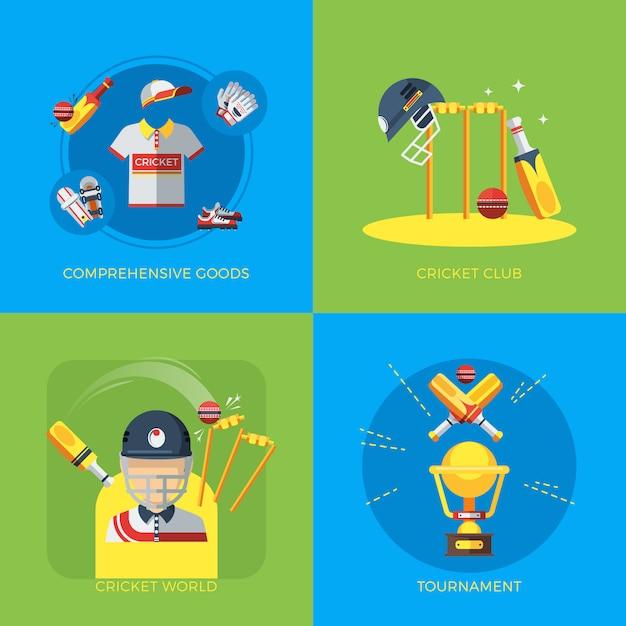 Cricket elemente set design Kostenlosen Vektoren