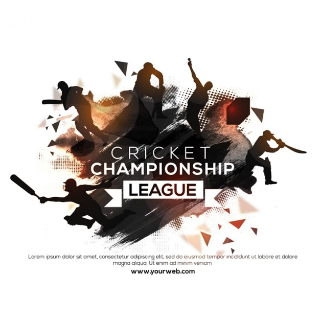 Cricket-poster mit silhouetten Premium Vektoren