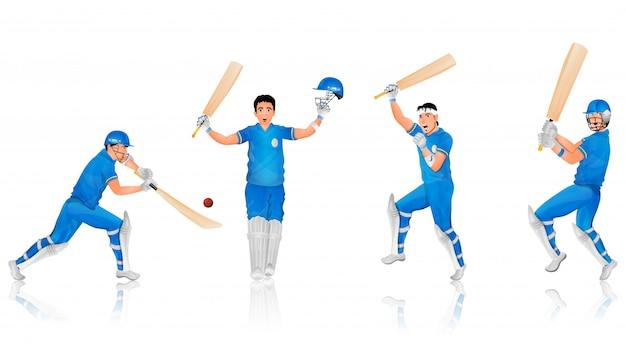 Cricket-schlagmann-charakter in verschiedenen posen. Premium Vektoren