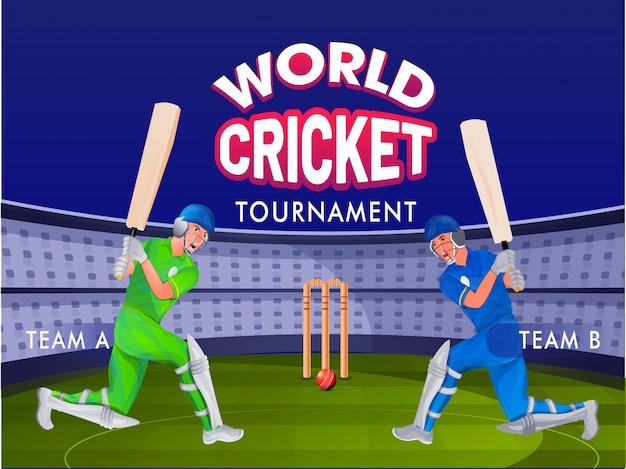 Cricket schlagmann von team a und team b auf nachtstadion boden Premium Vektoren