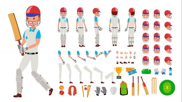 Cricket-spieler männlich Premium Vektoren