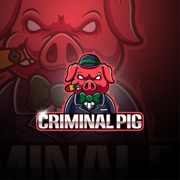 Criminal pig esport maskottchen logo Premium Vektoren