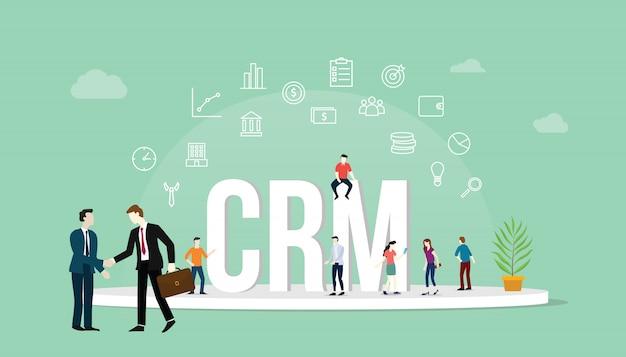 Crm customer relationship management-konzept Premium Vektoren