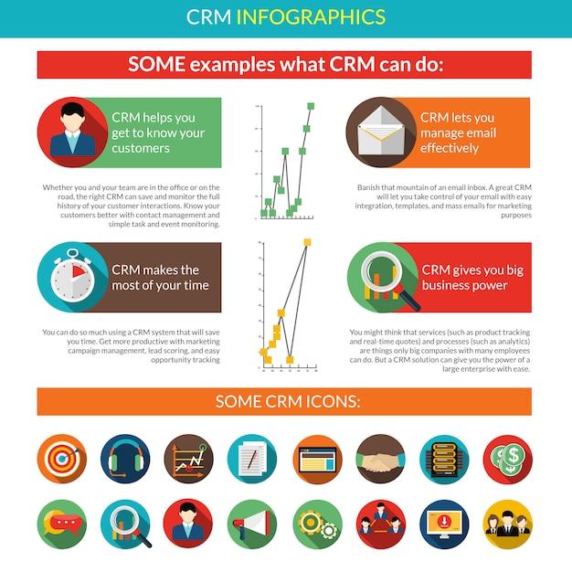 Crm-infografik-set Kostenlosen Vektoren