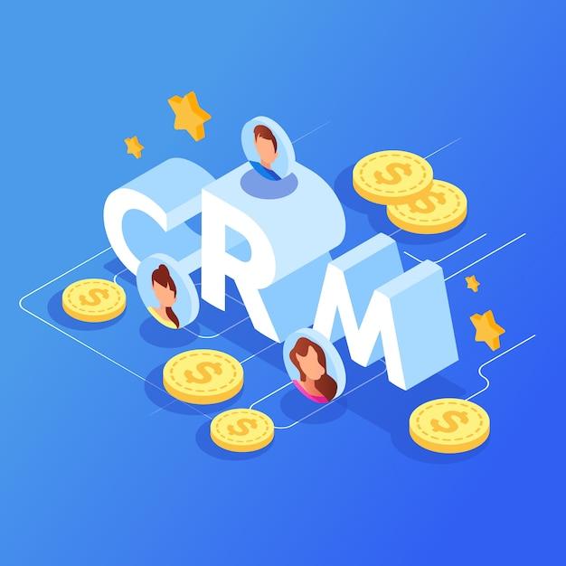 Crm-konzept für kundenbeziehungsmanagement. Premium Vektoren
