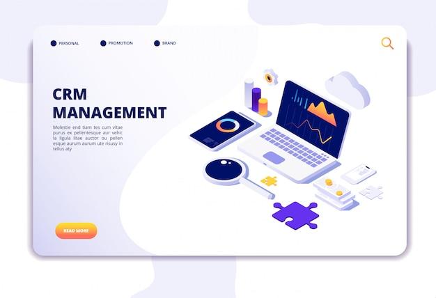 Crm-konzept. kundenbeziehungsmanagement. datenbank-websystemlösung. isometrische landingpage Premium Vektoren