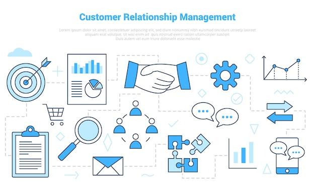 Crm kundenbeziehungsmanagement-konzept mit icon-set-vorlage mit modernem blauen farbstil Premium Vektoren